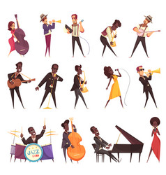 Musicians playing jazz set vector