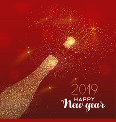 new year 2019 gold glitter champagne bottle card vector image