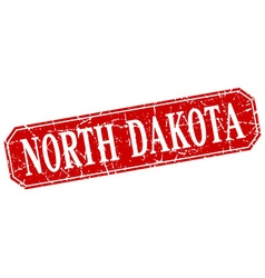 North Dakota red square grunge retro style sign vector image
