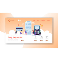 online card payment concept landing page payments vector image