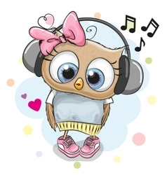 Owl girl with headphones and hearts vector