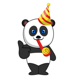panda with birthday hat on white background vector image