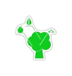Paper sticker on white background tree vector