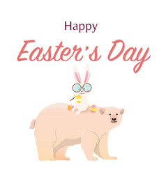 polar bear with easter bunny vector image