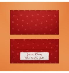 Realistic red christmas envelope to santa claus vector