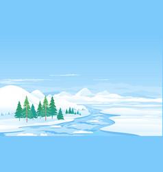 river ice melting spring landscape vector image
