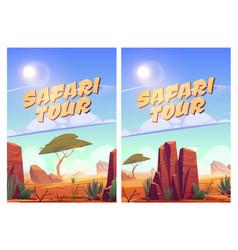 Safari tour posters with african savannah vector