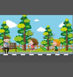 scene with kids catching butterflies vector image