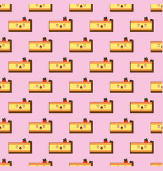 seamless pattern of smiling kawaii style cake with vector image