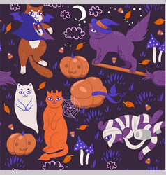 seamless pattern with halloween cats graphics vector image