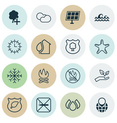 Set of 16 eco icons includes sun clock ocean vector