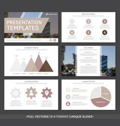 set of brown elements for multipurpose vector image