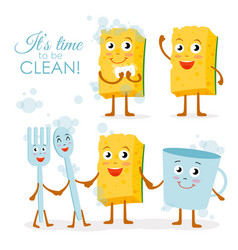 Set of smiling dish washing vector