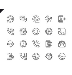 simple set processing related line icons vector image