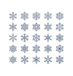 Snowflake flat icons set collection cute vector