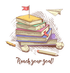 stack of hand drawn books with red flag on the top vector image