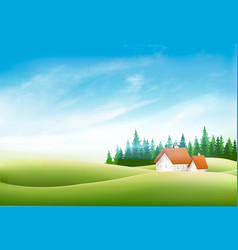 Summer nature landscape with village house green vector