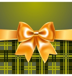 Tartan background with ribbon bow vector image