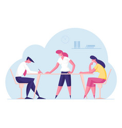 Teamwork concept office businesspeople employees vector