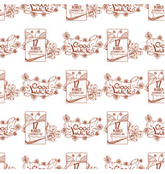 tear off calendar on march 17 day seamless pattern vector image
