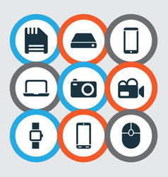technology icons set with floppy disk smart watch vector image