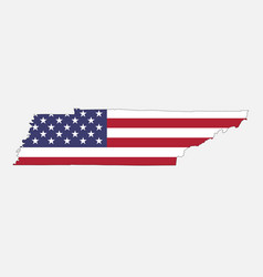 tennessee map on american flag vector image