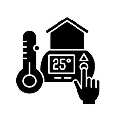 Thermostat setting black glyph icon vector