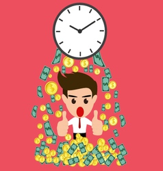Time is money whit happy businessman vector