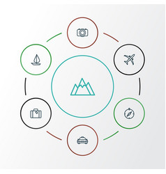 Traveling outline icons set collection of video vector