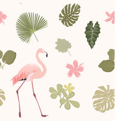 tripical pattern wiht flamingo vector image