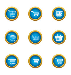 Trolley icons set flat style vector
