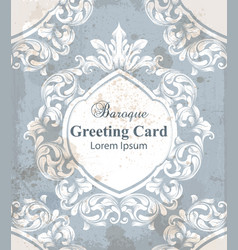 vintage greeting card with baroque ornamented vector image