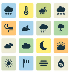 Weather icons set collection of moisture sun vector