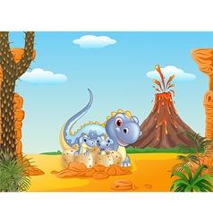Cartoon happy mom dinosaur and baby dinosaurs vector image vector image