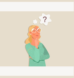 cartoon woman is thinking question mark vector image