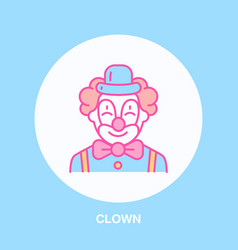 cute smiling clown line icon logo for vector image vector image