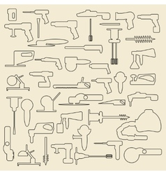Electric construction tools linear icons vector image