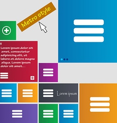 List menu content view options icon sign metro vector