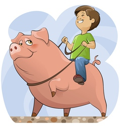 pig and boy vector image vector image