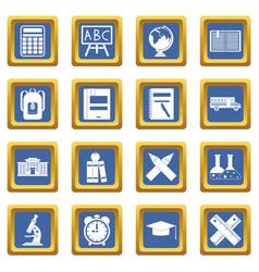 school icons set blue vector image vector image