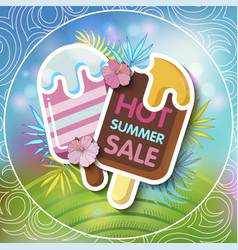 Summer sale background with tropical palm vector