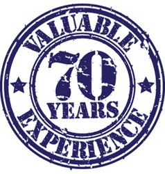 Valuable 70 years of experience rubber stamp vect vector image