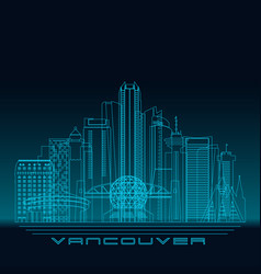 vancouver skyline detailed silhouette vector image vector image