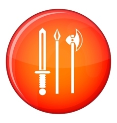 Ancient weapon sword pick and axe icon vector image vector image