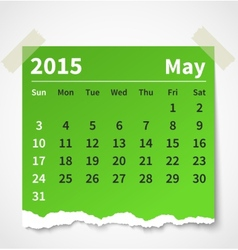Calendar may 2015 colorful torn paper vector image vector image