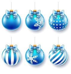 christmas blue balls set vector image vector image
