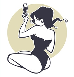drinking pinup girl vector image vector image