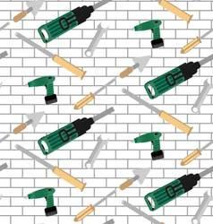 Pattern tools construction on brick wall vector image
