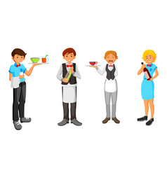 set of waiter character design vector image
