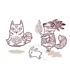 shaman fox and yogi fox in outline fun characters vector image